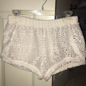 Off white crotchet cover up shorts